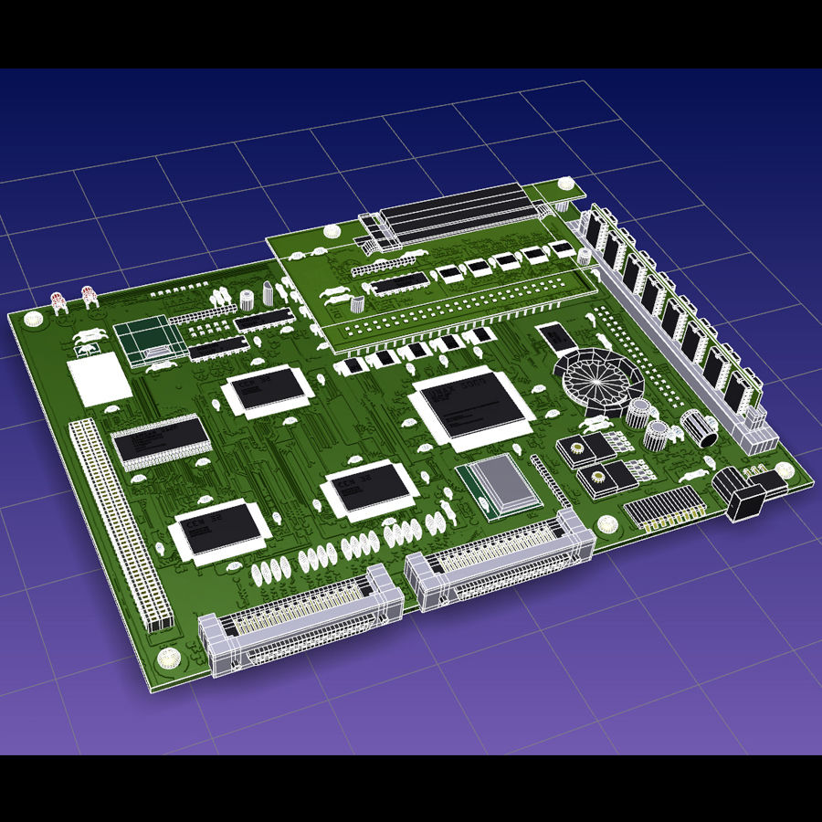 Electronic Circuit Board royalty-free 3d model - Preview no. 6