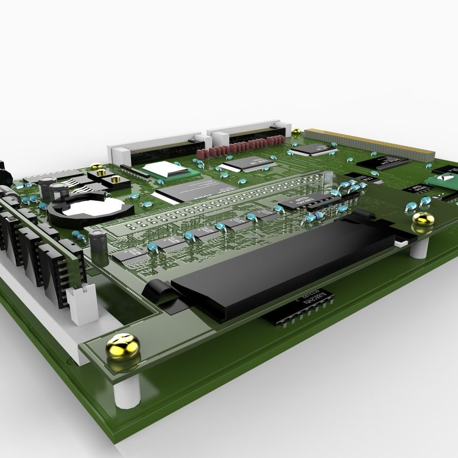 Electronic Circuit Board royalty-free 3d model - Preview no. 4