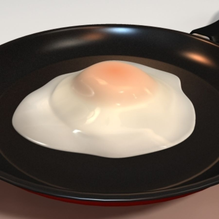 fried egg royalty-free 3d model - Preview no. 4