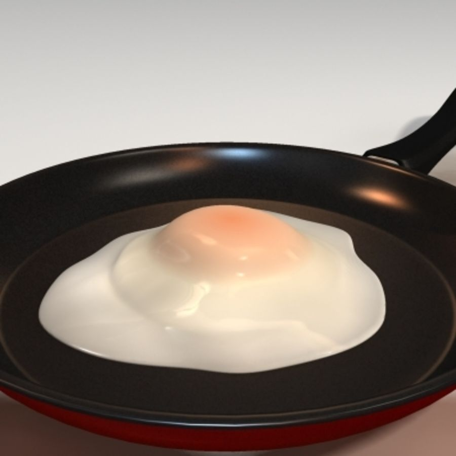 fried egg royalty-free 3d model - Preview no. 3