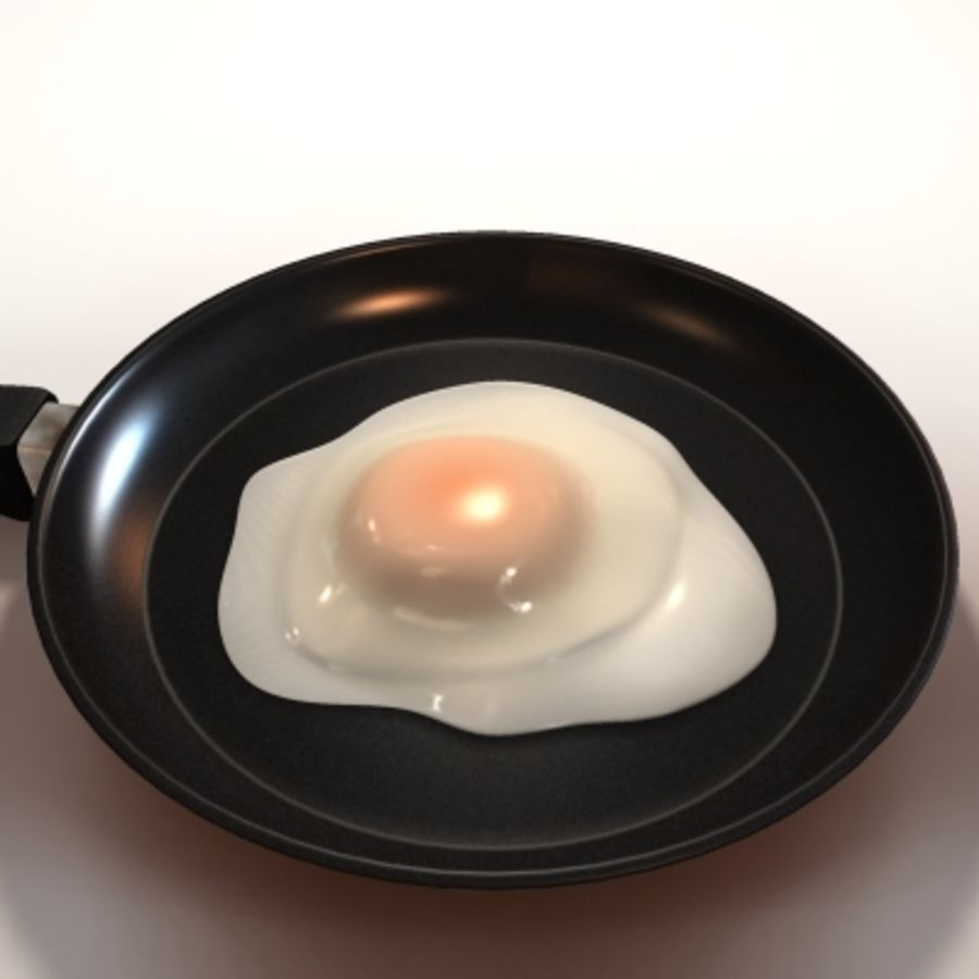 fried egg royalty-free 3d model - Preview no. 6
