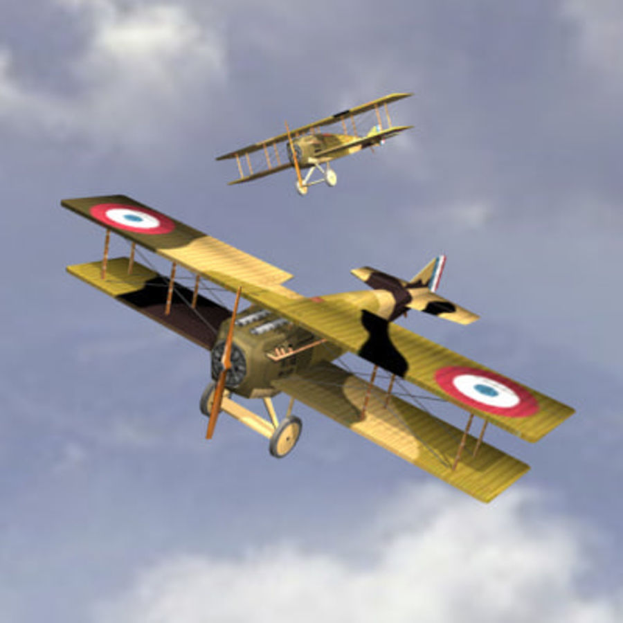 Airplane SPAD VII (Biplane) royalty-free 3d model - Preview no. 1