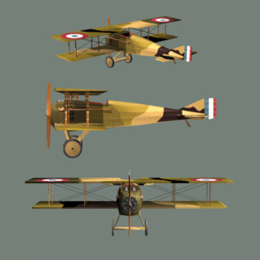 Airplane SPAD VII (Biplane) royalty-free 3d model - Preview no. 2