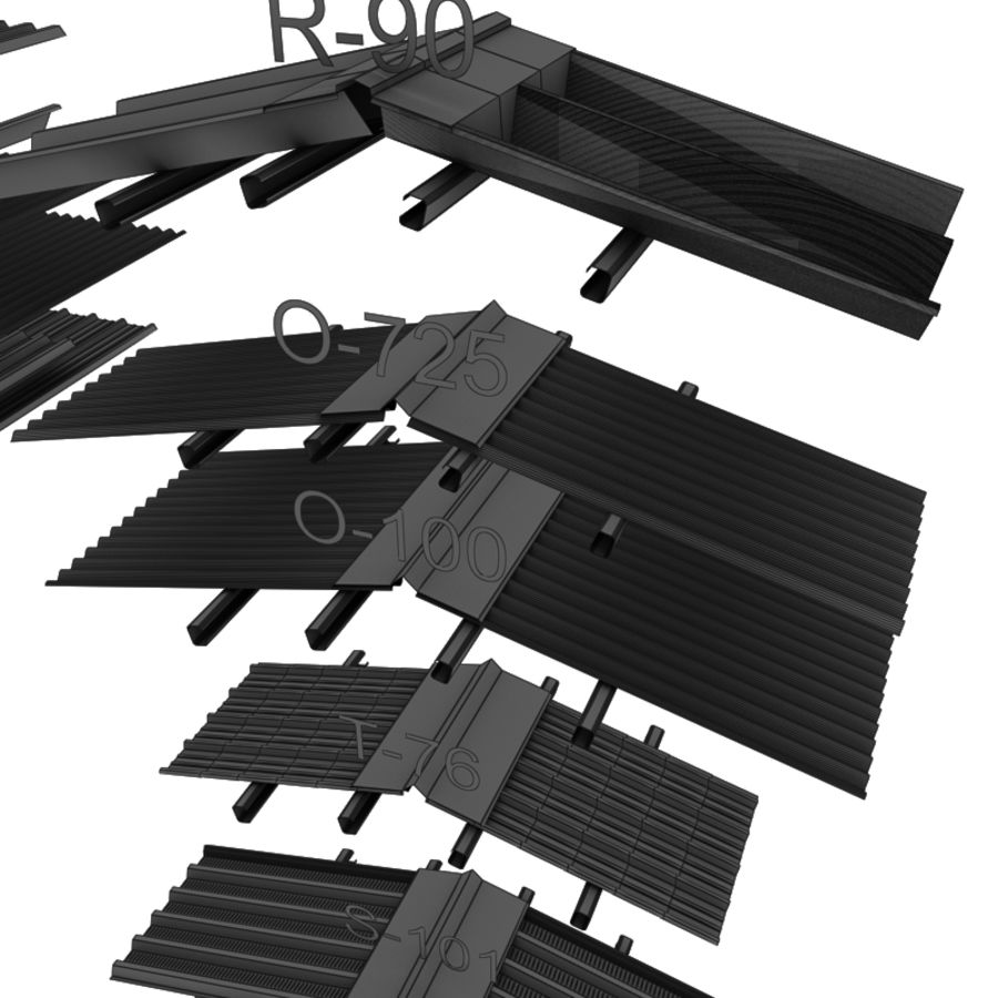 metal roof collection royalty-free 3d model - Preview no. 19