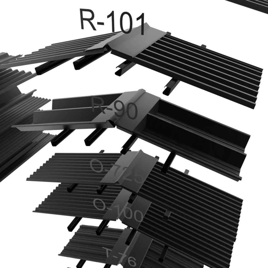 metal roof collection royalty-free 3d model - Preview no. 8