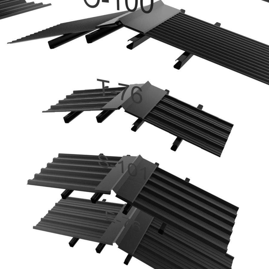 metal roof collection royalty-free 3d model - Preview no. 11