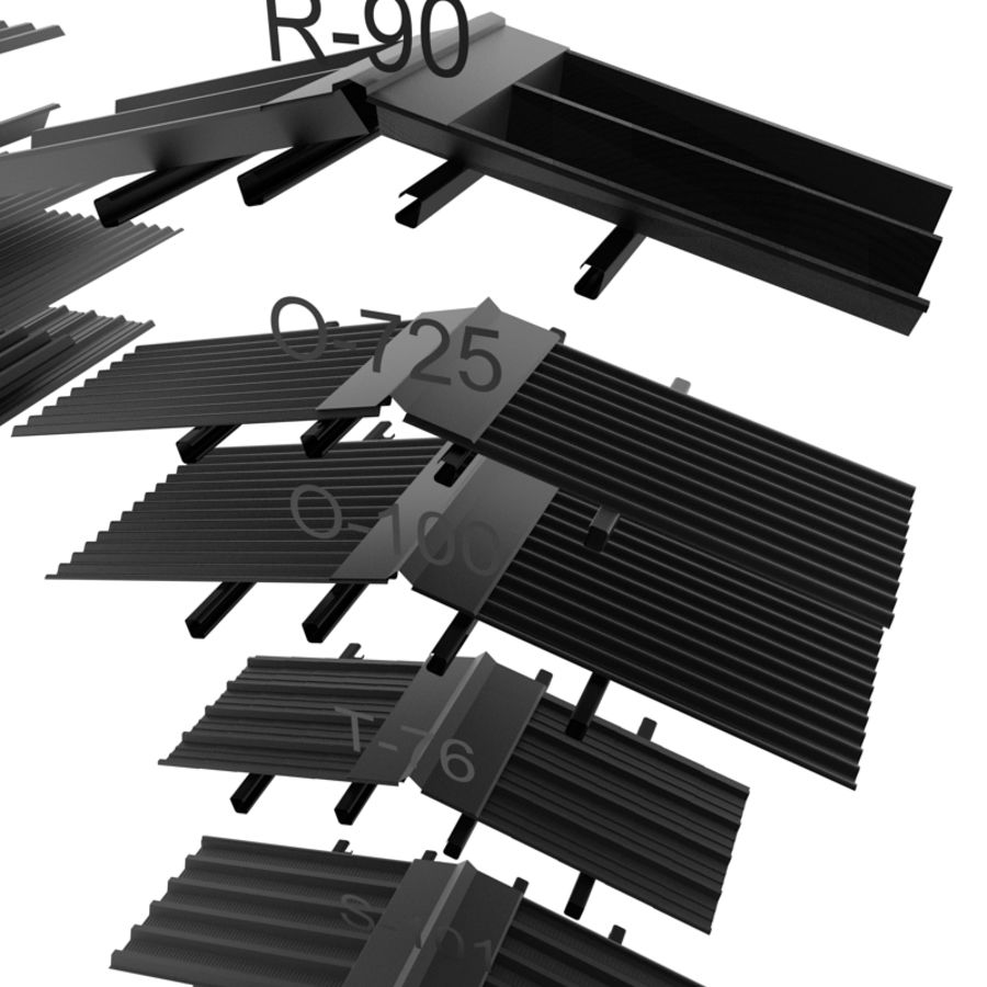 metal roof collection royalty-free 3d model - Preview no. 9