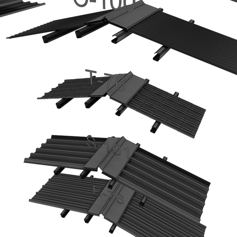 metal roof collection royalty-free 3d model - Preview no. 21