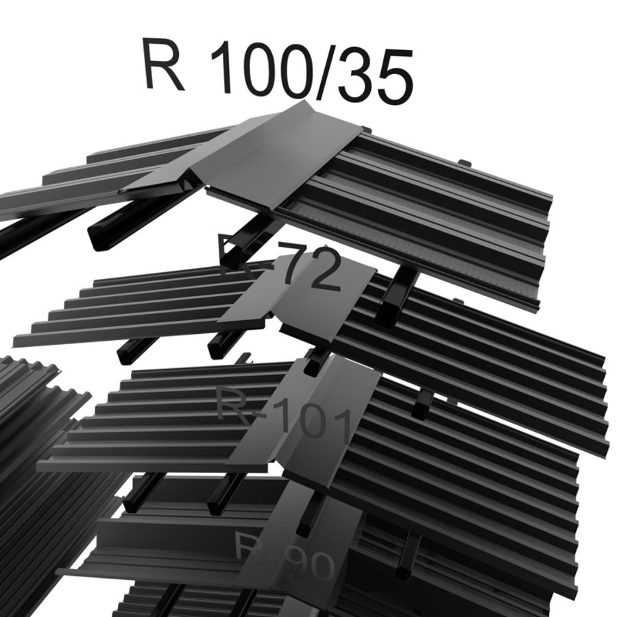 metal roof collection royalty-free 3d model - Preview no. 6