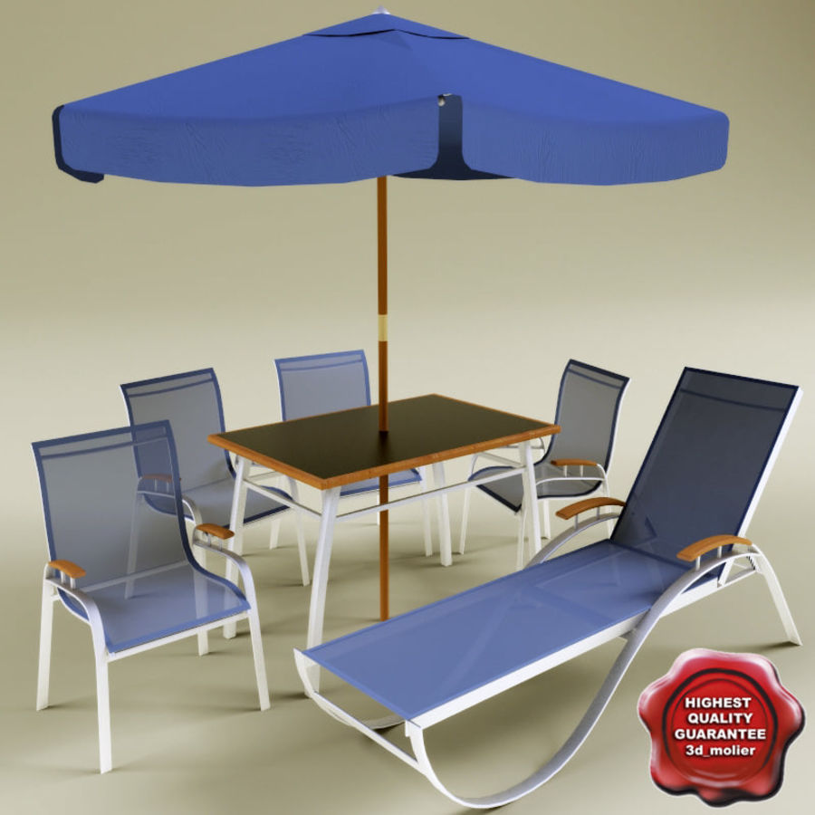 Garden furniture collection royalty-free 3d model - Preview no. 1
