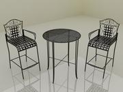 Bistro Garden Coffee Table Set - högkvalitativa möbler 3d modell 3d model