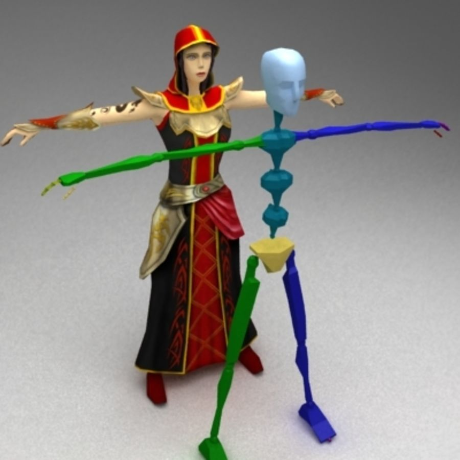 Female mage royalty-free 3d model - Preview no. 4