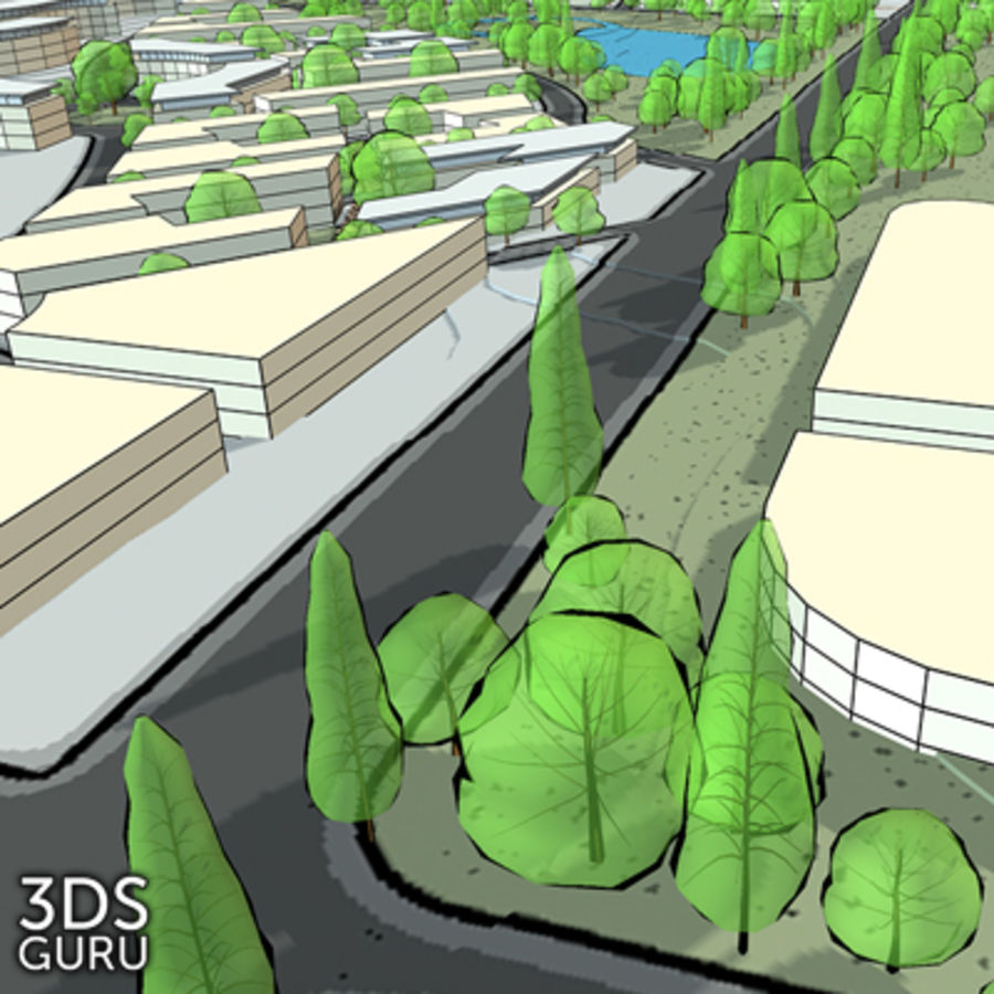 Schematic trees royalty-free 3d model - Preview no. 11