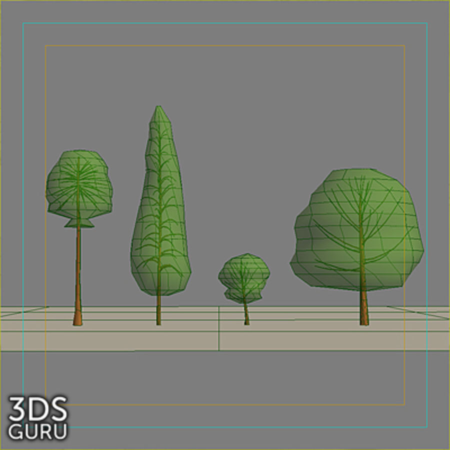 Schematic trees royalty-free 3d model - Preview no. 2