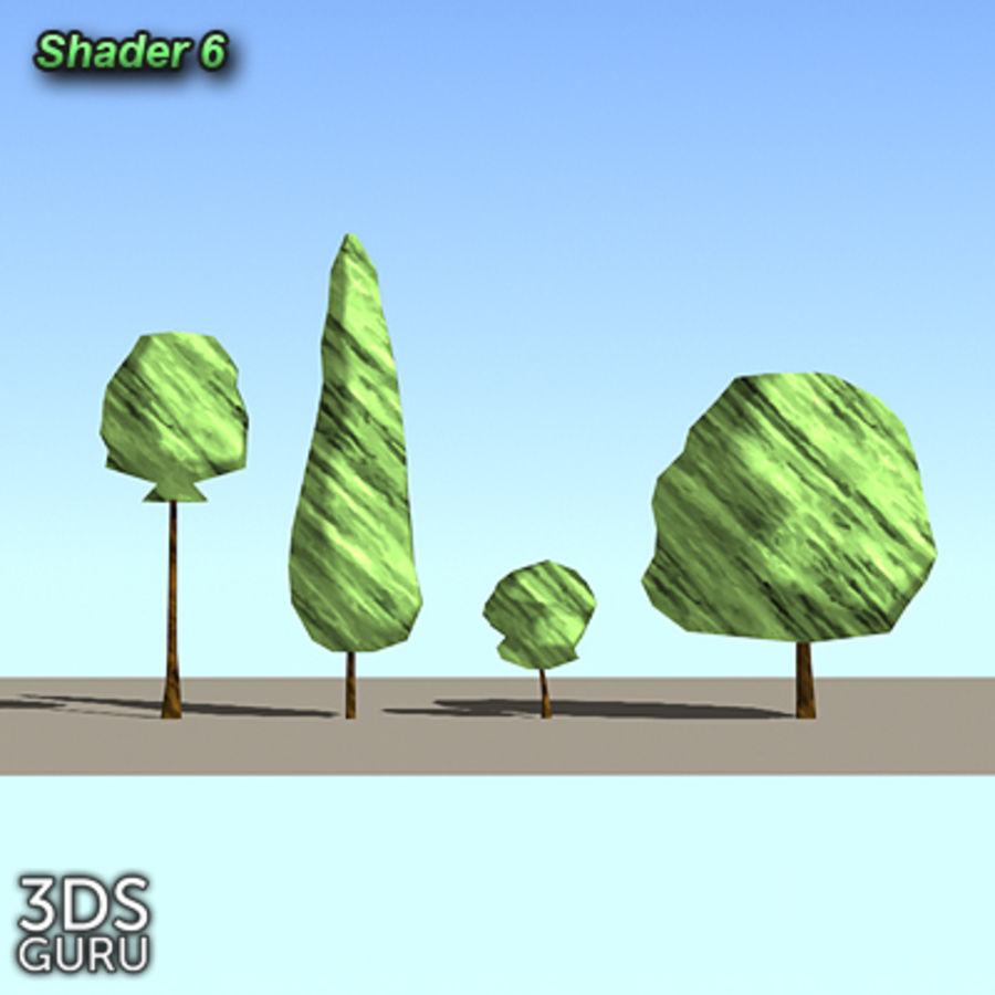 Schematic trees royalty-free 3d model - Preview no. 8