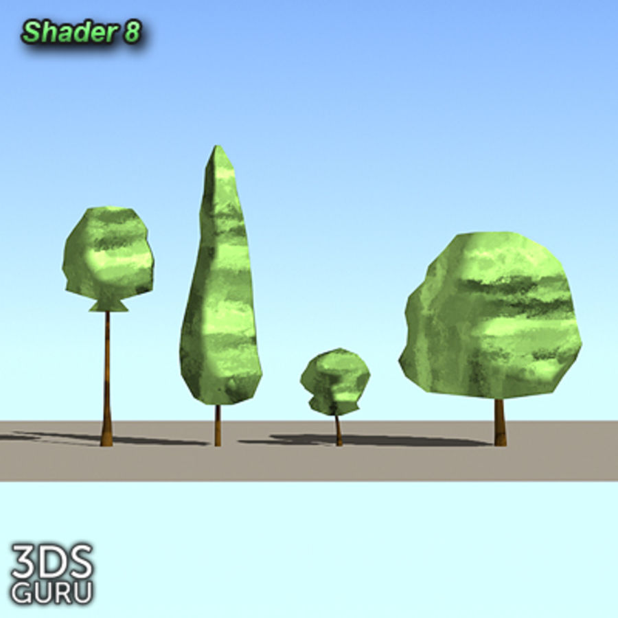 Schematic trees royalty-free 3d model - Preview no. 10
