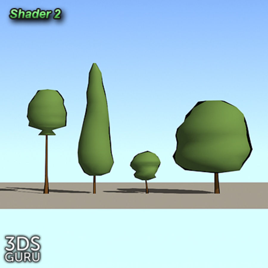 Schematic trees royalty-free 3d model - Preview no. 4