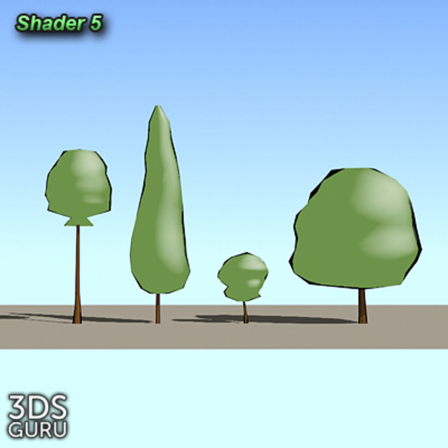 Schematic trees royalty-free 3d model - Preview no. 7