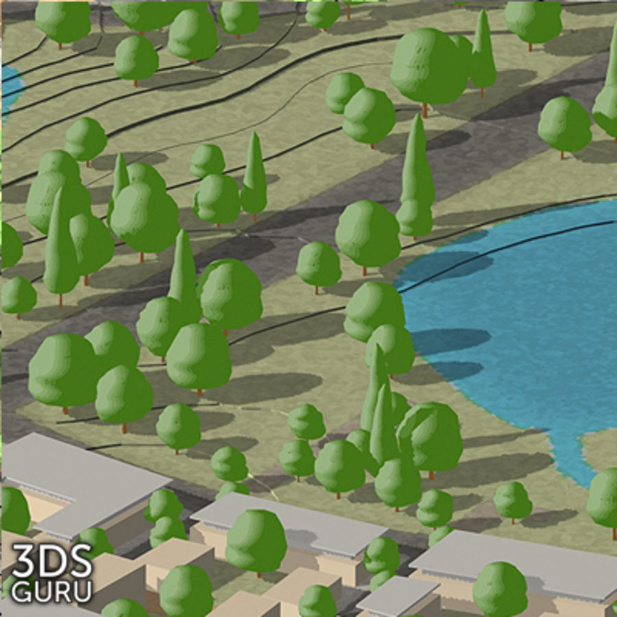 Schematic trees royalty-free 3d model - Preview no. 14