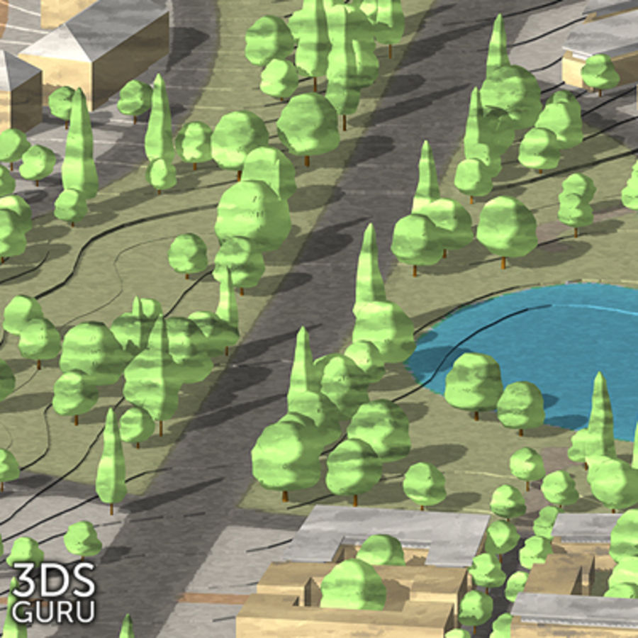 Schematic trees royalty-free 3d model - Preview no. 13