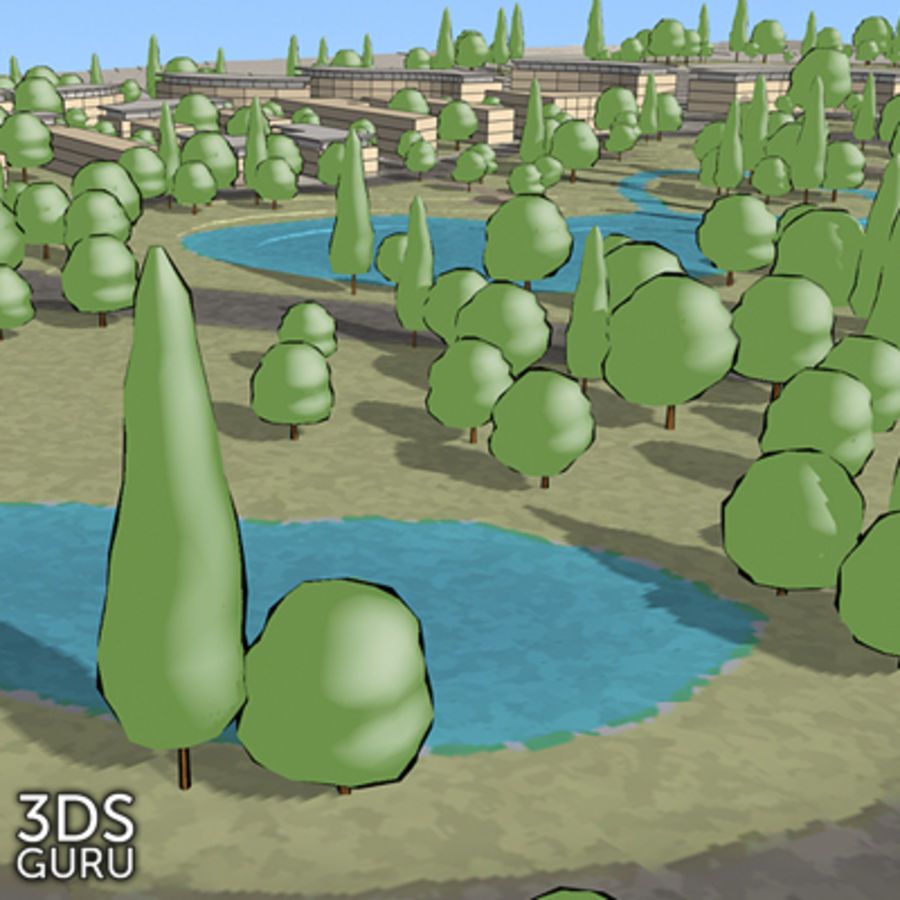 Schematic trees royalty-free 3d model - Preview no. 16
