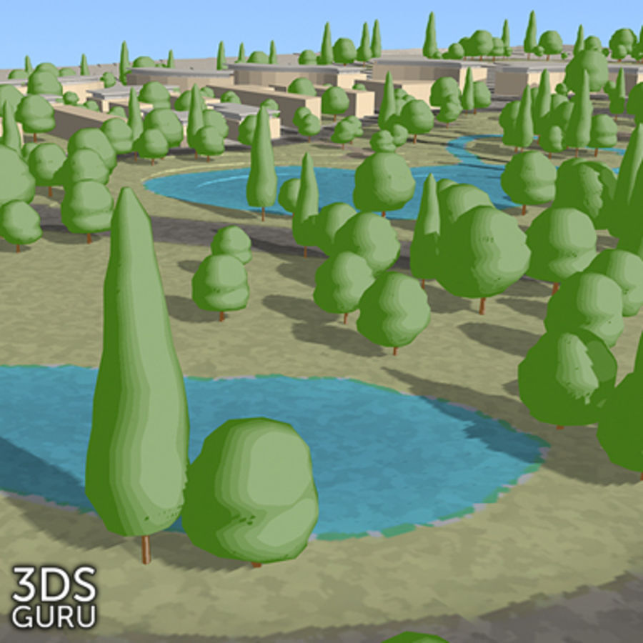 Schematic trees royalty-free 3d model - Preview no. 17