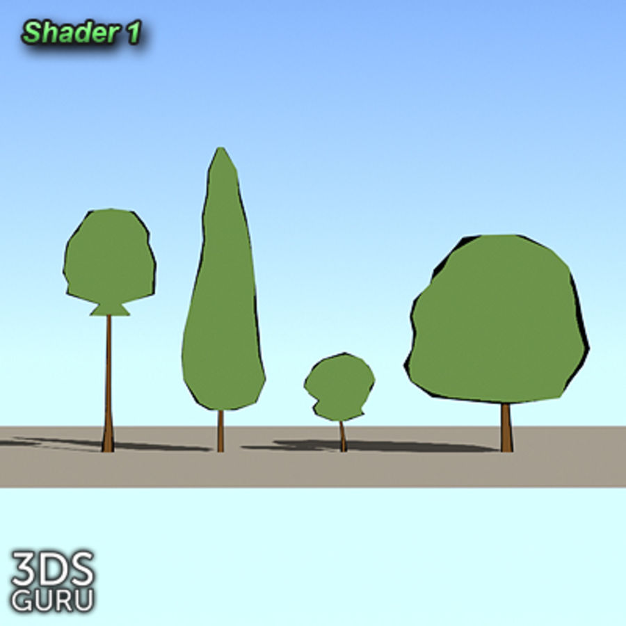 Schematic trees royalty-free 3d model - Preview no. 3