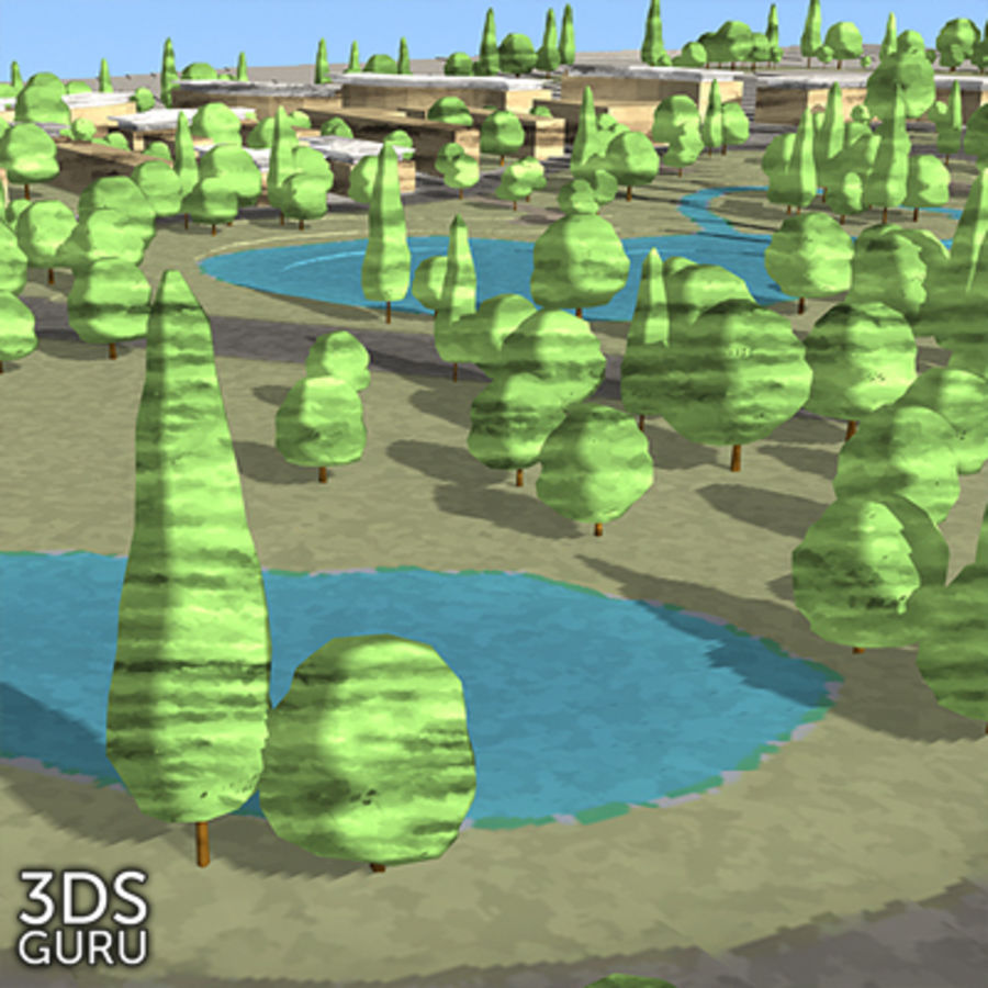 Schematic trees royalty-free 3d model - Preview no. 15