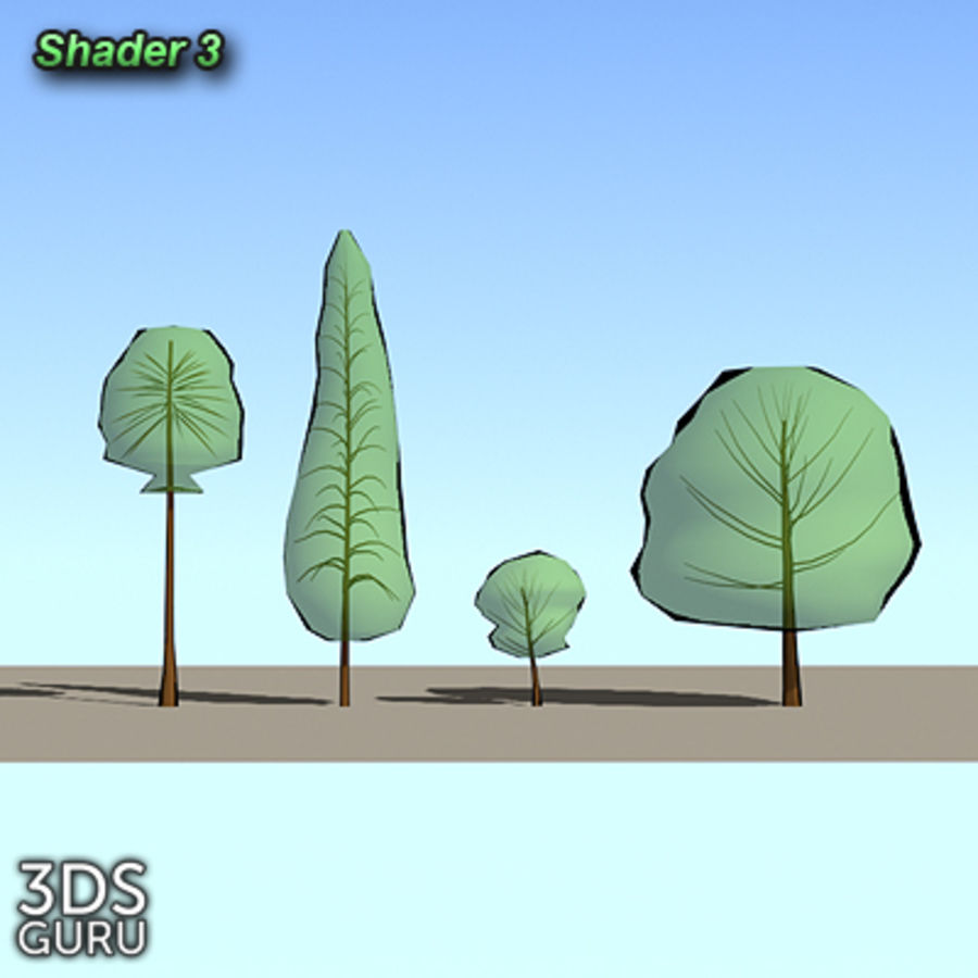 Schematic trees royalty-free 3d model - Preview no. 5