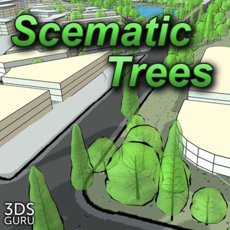 Schematic trees royalty-free 3d model - Preview no. 1