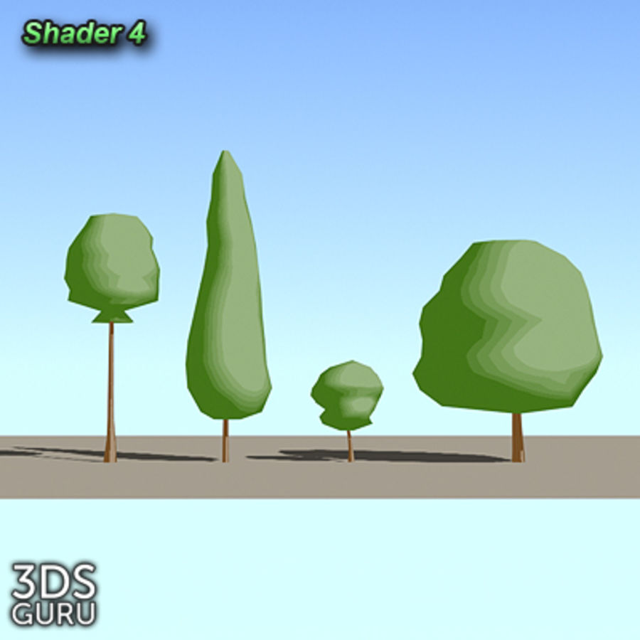 Schematic trees royalty-free 3d model - Preview no. 6