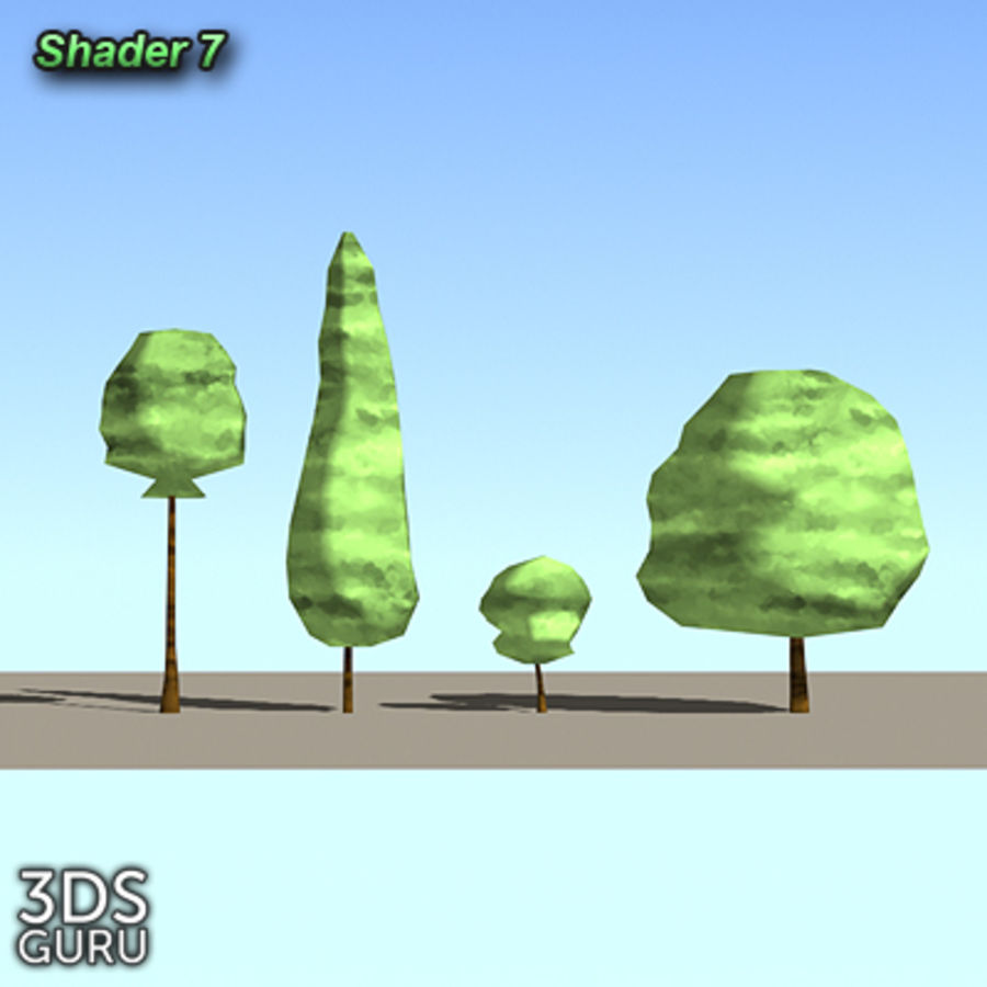 Schematic trees royalty-free 3d model - Preview no. 9