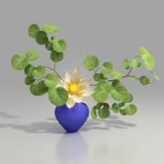 white lotus in blue vase 3d model