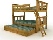 Twin Over Twin Mission Bunk bed - High Quality Furniture 3d model 3d model
