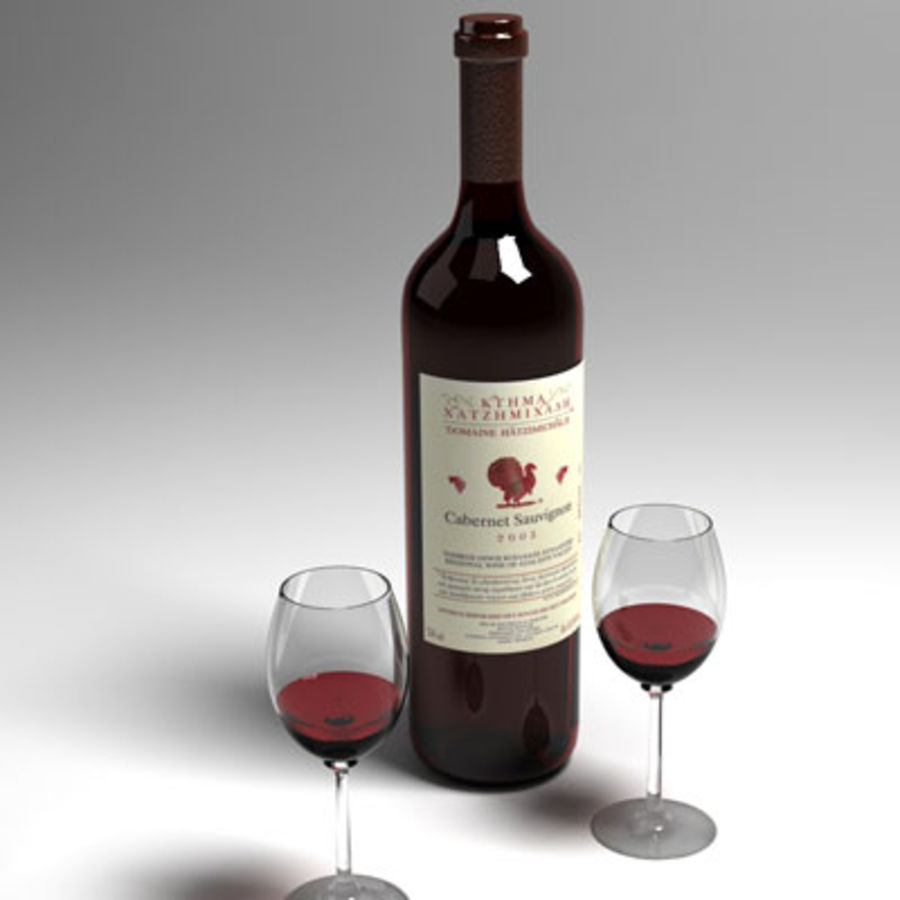 vino tinto y copa de vino 01 royalty-free modelo 3d - Preview no. 4