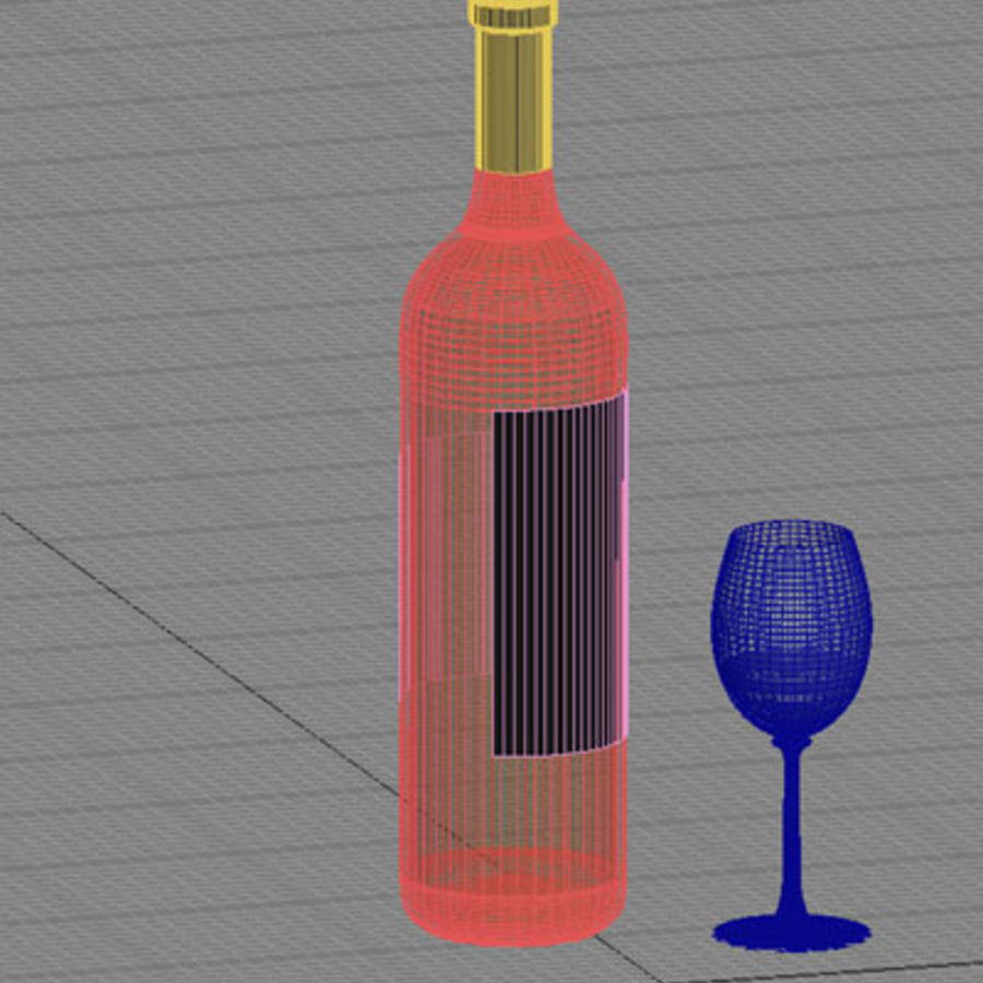 vino tinto y copa de vino 01 royalty-free modelo 3d - Preview no. 6