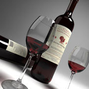 red wine and wineglass 01 3d model
