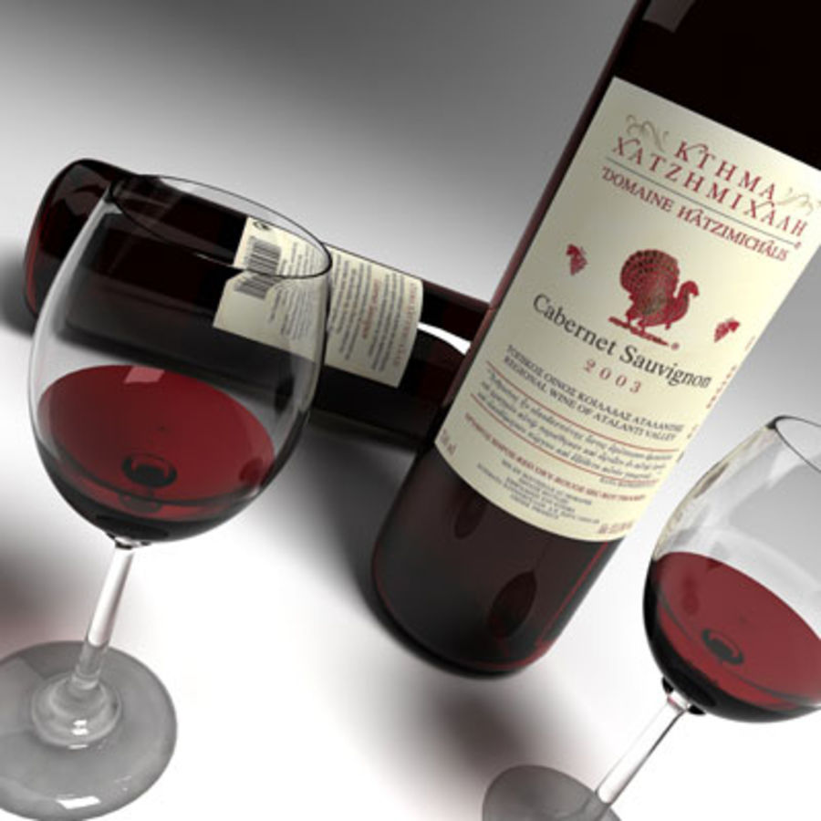 vino tinto y copa de vino 01 royalty-free modelo 3d - Preview no. 5