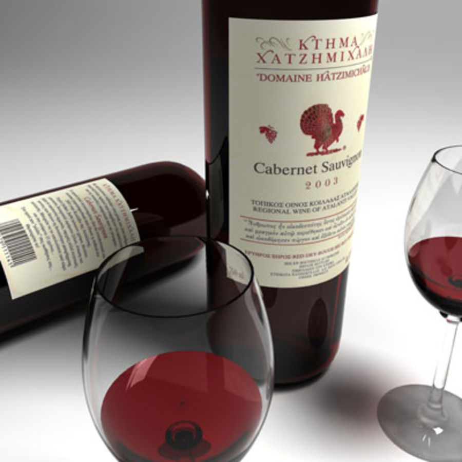 vino tinto y copa de vino 01 royalty-free modelo 3d - Preview no. 3