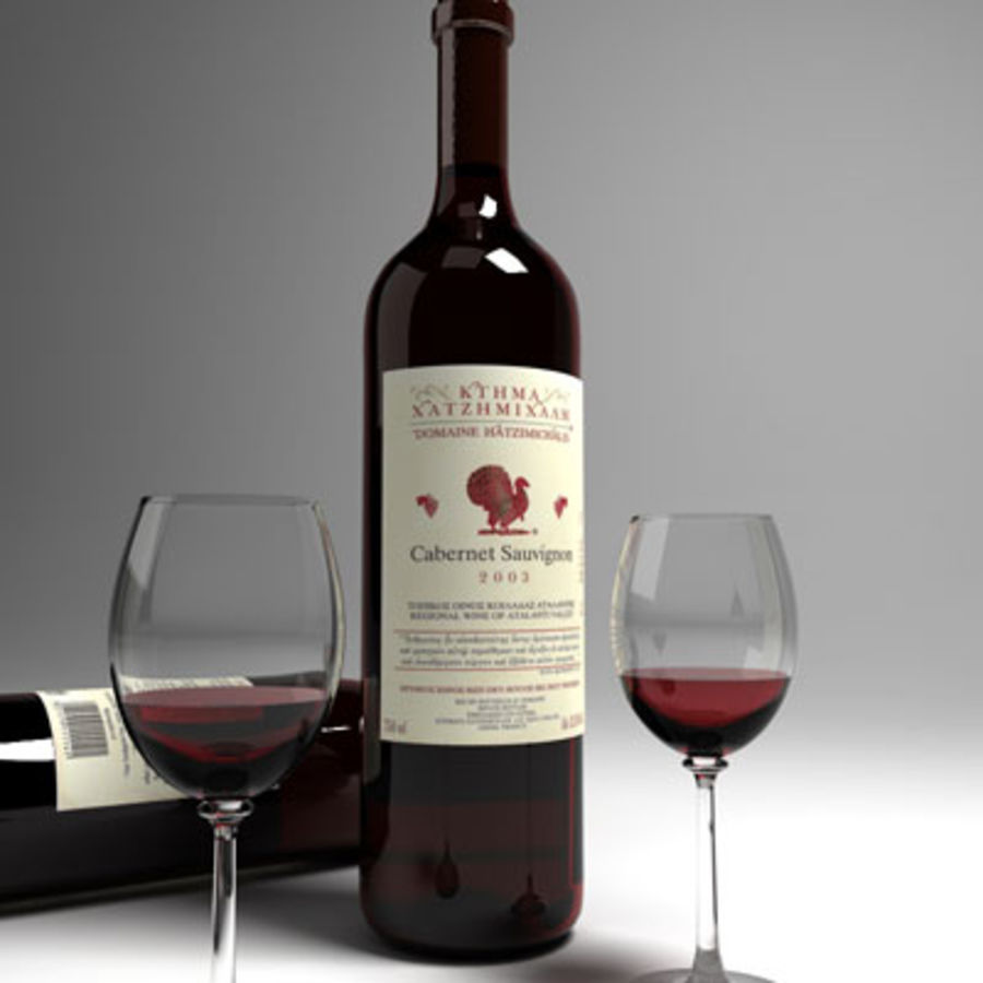 red wine and wineglass 01 royalty-free 3d model - Preview no. 2