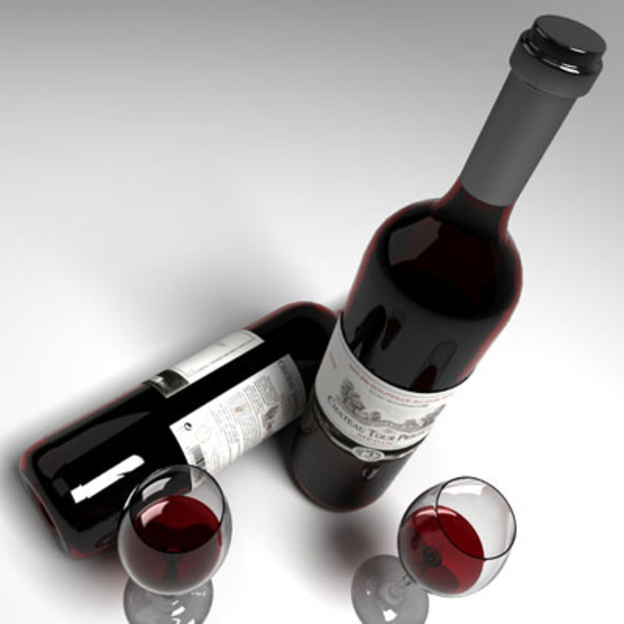 red wine and wineglass 02 royalty-free 3d model - Preview no. 4