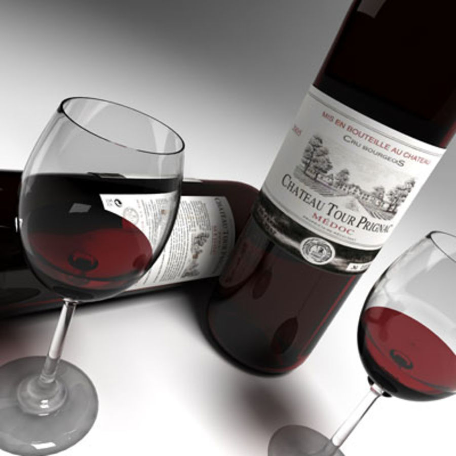 red wine and wineglass 02 royalty-free 3d model - Preview no. 2