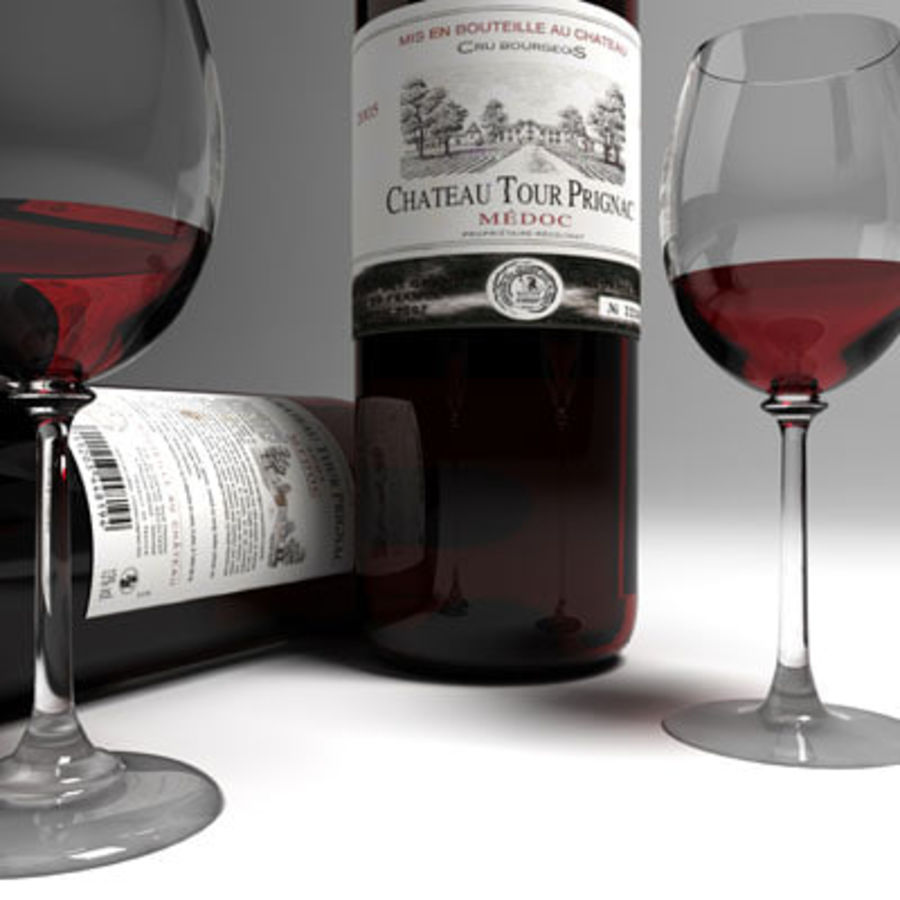 red wine and wineglass 02 royalty-free 3d model - Preview no. 3