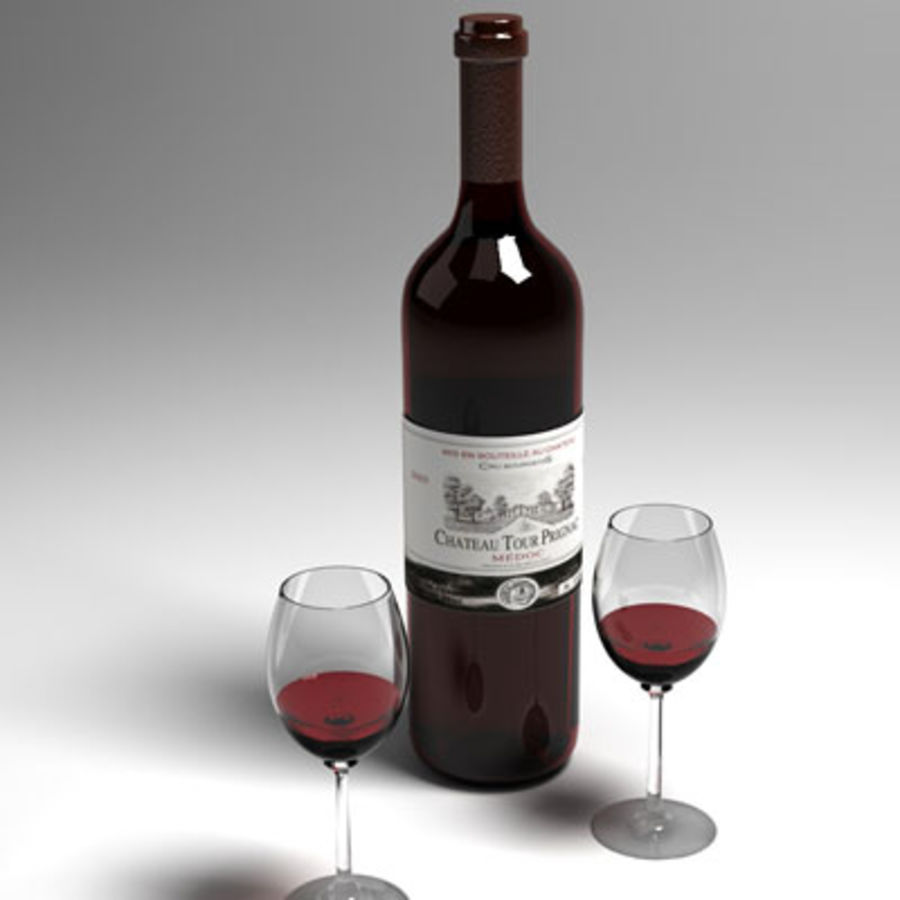 red wine and wineglass 02 royalty-free 3d model - Preview no. 5