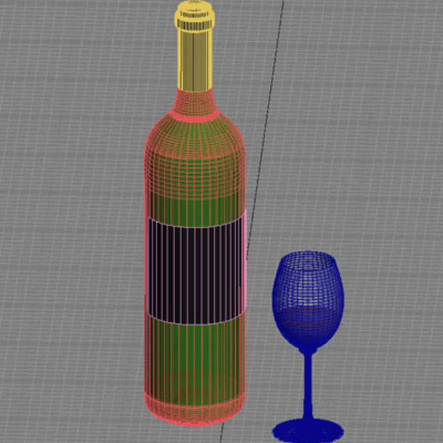 red wine and wineglass 02 royalty-free 3d model - Preview no. 6