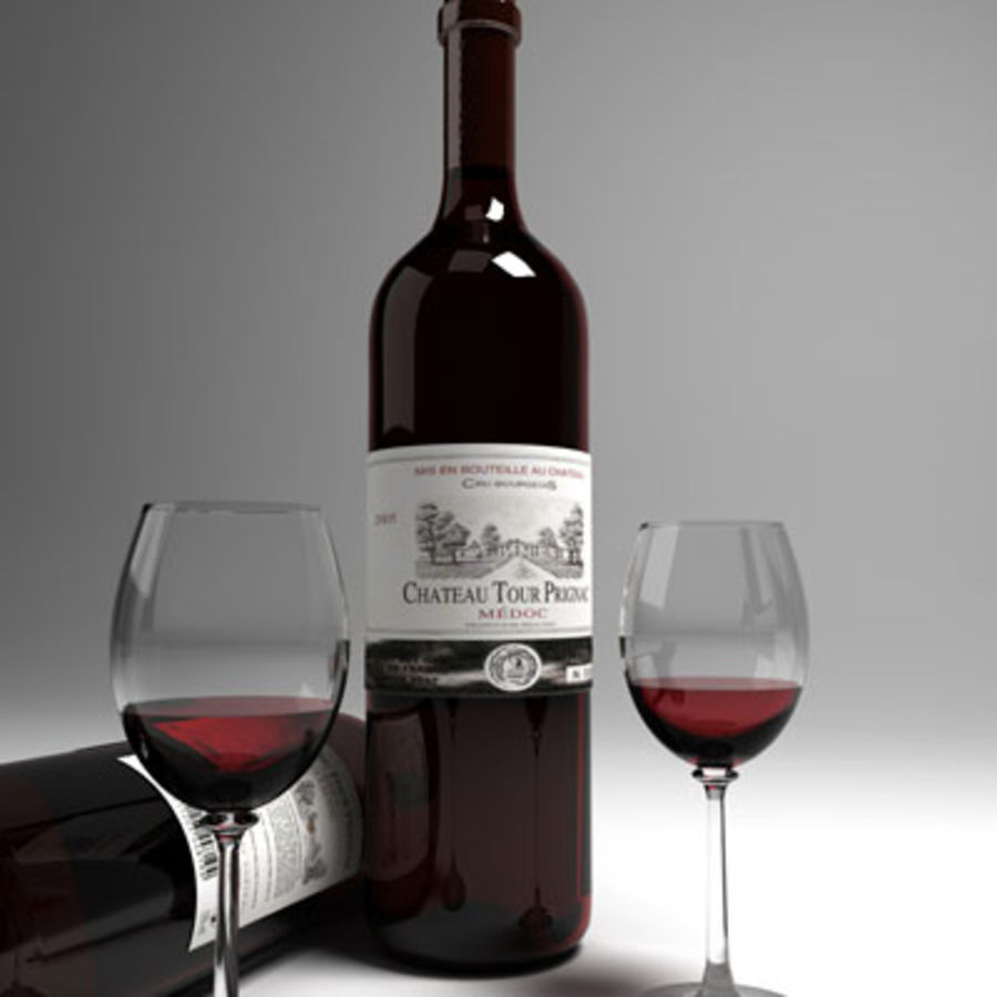 red wine and wineglass 02 royalty-free 3d model - Preview no. 1