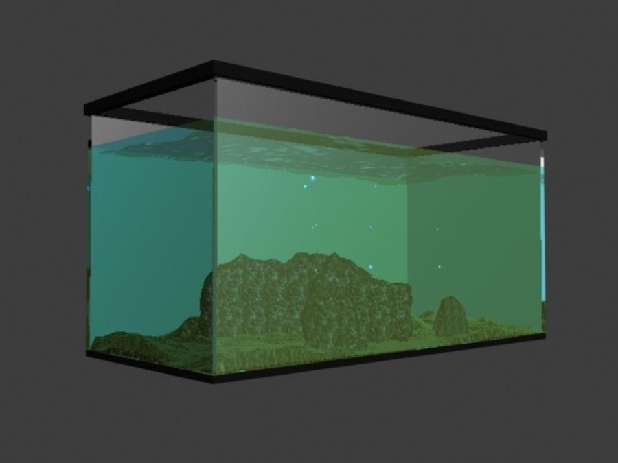 鱼缸里有水,岩石,沙子和气泡 royalty-free 3d model - Preview no. 3