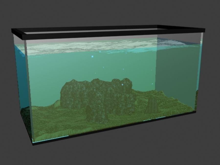 鱼缸里有水,岩石,沙子和气泡 royalty-free 3d model - Preview no. 1