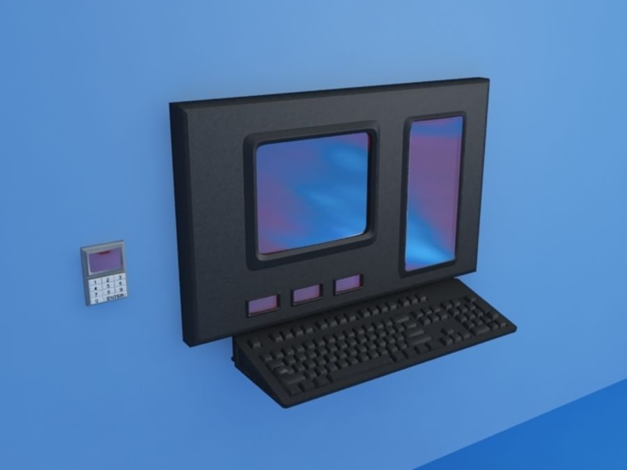 tastiera e workstation royalty-free 3d model - Preview no. 1