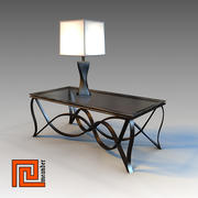 Table & lamp 01 3d model